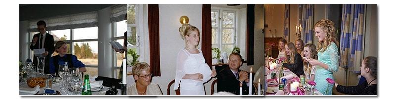 Billeder af folk der holder takketale til konfirmation