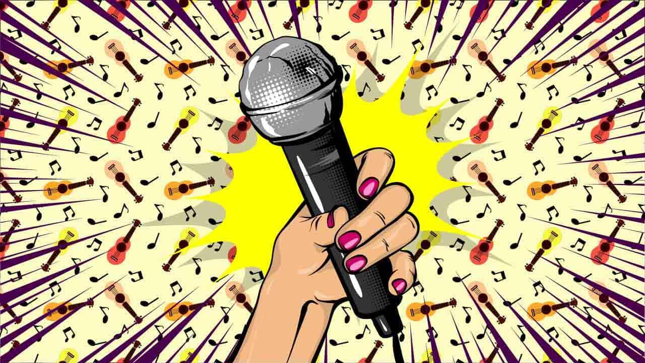 Her ser du en mikrofon. Find gode sange til fest her på siden.