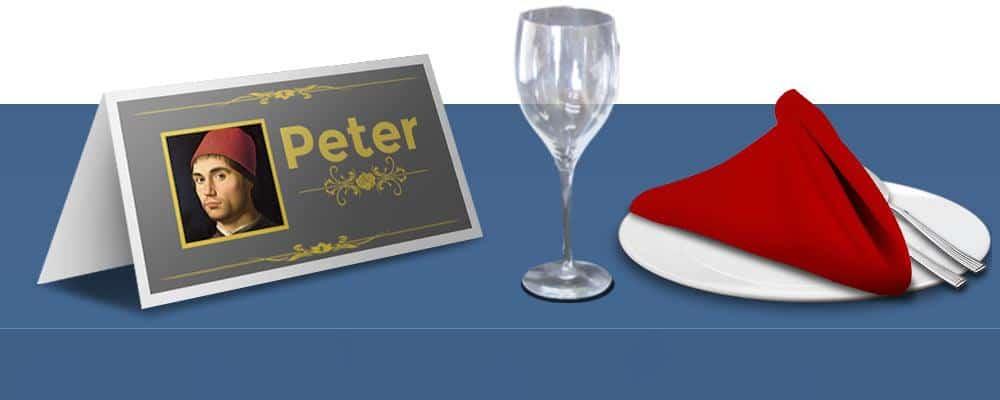 Bordkort til firmafest med vinglas og tallerken