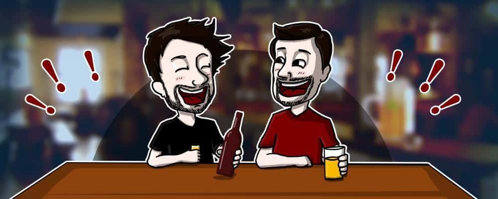 To mænd griner efter at have drukket helium øl