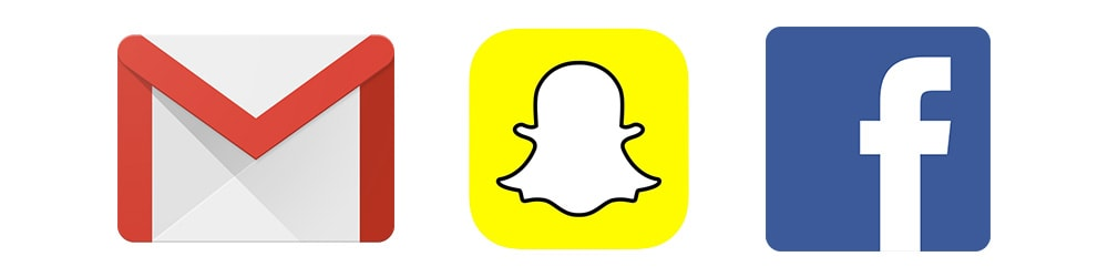 Billedet viser logoerne for: Gmail, Snapchat og Facebook. Man kan sende en fødselsdagshilsen på dem.